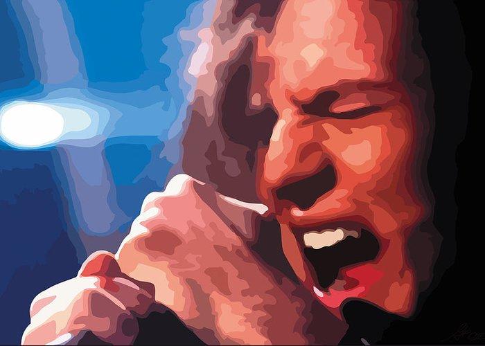 Black Greeting Card featuring the digital art Eddie Vedder by Gordon Dean II