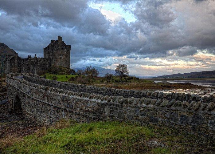 Eilean Donan Castle Greeting Card featuring the photograph Eilean Donan Castle In The Morning Light by Jim Dohms