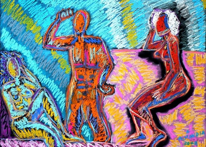Figurative Greeting Card featuring the painting Electricity - 3 Figures by Albert Almondia