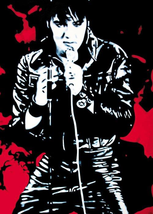 Elvis Presley Greeting Card featuring the painting Elvis by Luis Ludzska