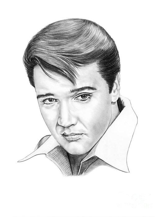 Portrait Greeting Card featuring the drawing Elvis Presley by Murphy Elliott