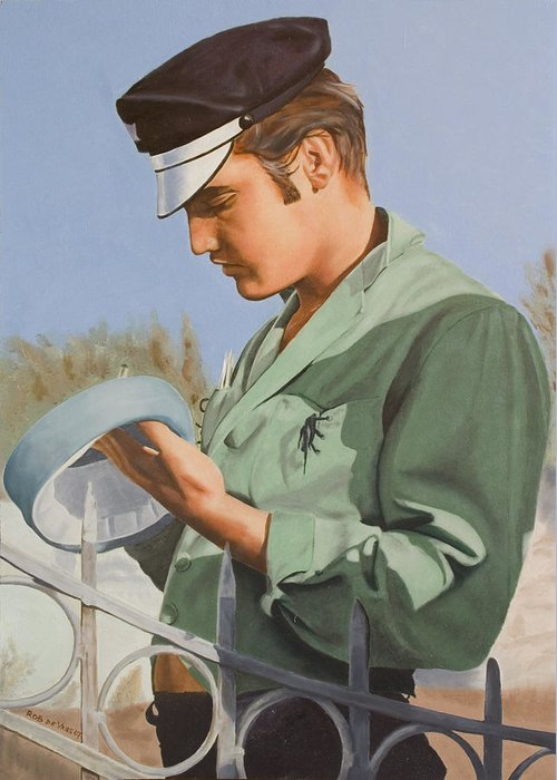 Singer Greeting Card featuring the painting Elvis Presley by Rob De Vries
