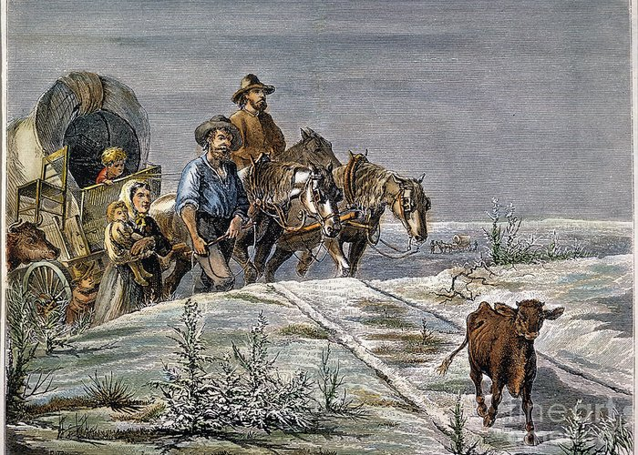 1874 Greeting Card featuring the photograph Emigrants, 1874 by Granger