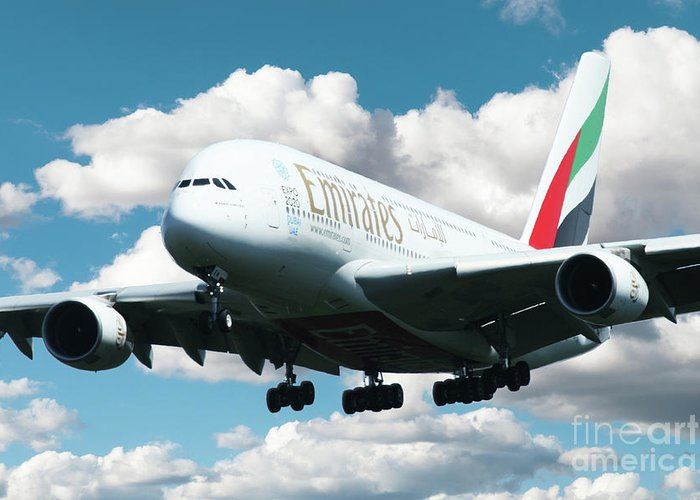 Airbus A380 Greeting Card featuring the digital art Emirates A380 by J Biggadike