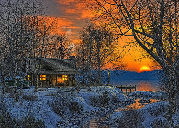 Cabin Greeting Card featuring the painting End Of Day Beginning Of Winter by Randy Earles