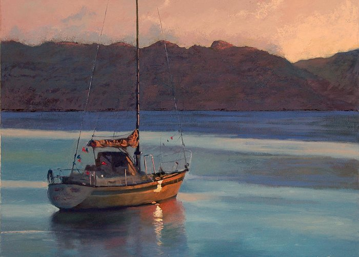 Sail Greeting Card featuring the painting End Of Day by Robert Bissett