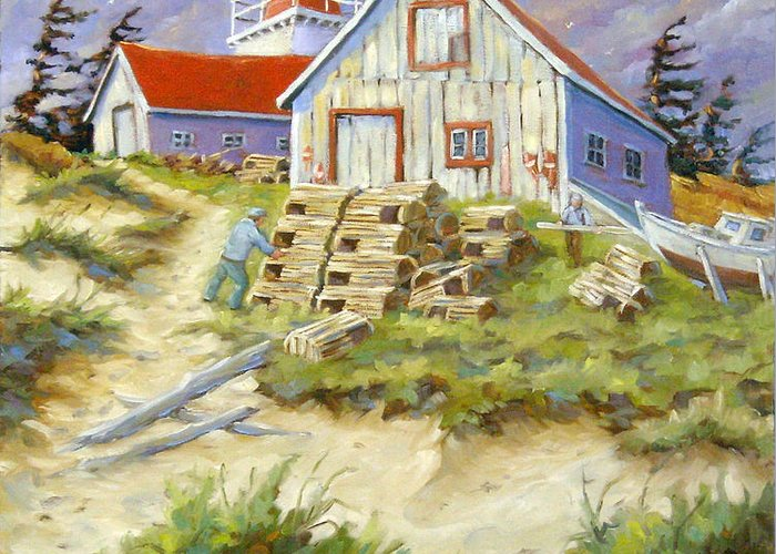 Art Greeting Card featuring the painting End Of Lobster Season by Richard T Pranke