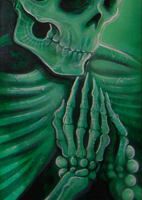 Skull Greeting Card featuring the painting Endless Faith by Joshua South