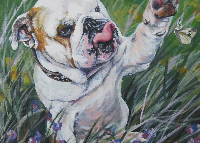 English Bulldog Greeting Card featuring the painting English Bulldog by Lee Ann Shepard