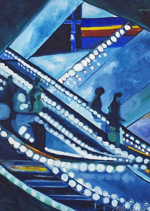 Night Scenes Greeting Card featuring the painting Escalator Lights by Patricia Arroyo
