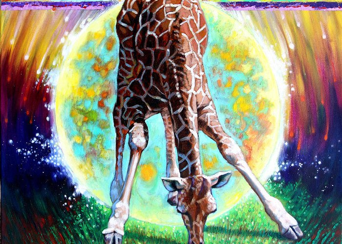 Giraff Greeting Card featuring the painting Eternal Nature Of Our Universe - Detail by John Lautermilch