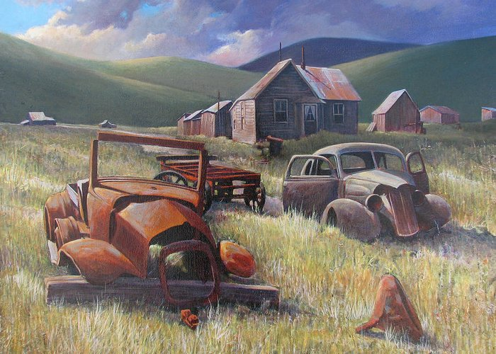 Old Cars Mixed Media Greeting Card featuring the painting Eternal Race by Don Trout