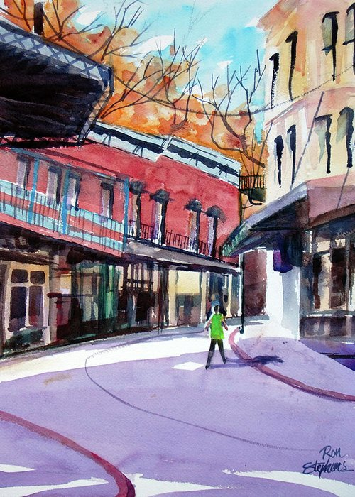 Store Fronts Greeting Card featuring the painting Eureka Springs Ak 4 by Ron Stephens