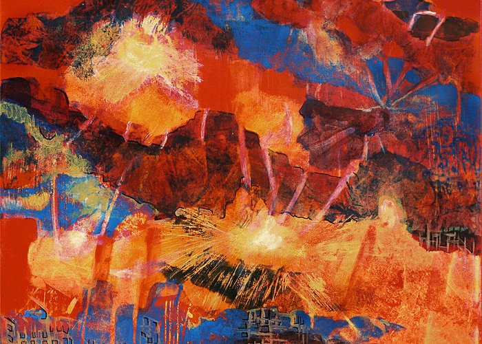 Exlposion Flame Painting Lightening Fire Fantasy Acrylic Dream Storm Sky City Colorful Reds Oranges Greeting Card featuring the painting Explosions Of Light by Frances Bourne