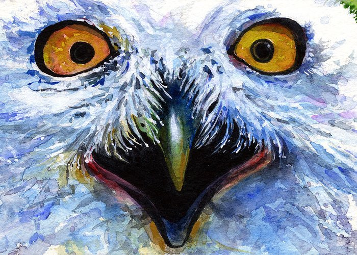 Eye Greeting Card featuring the painting Eyes Of Owls No. 15 by John D Benson