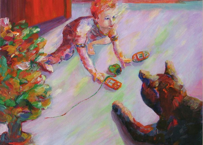 Child Enjoying The Cat Greeting Card featuring the painting Face Off by Naomi Gerrard