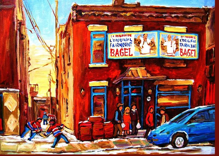 Hockey Greeting Card featuring the painting Fairmount Bagel In Winter by Carole Spandau