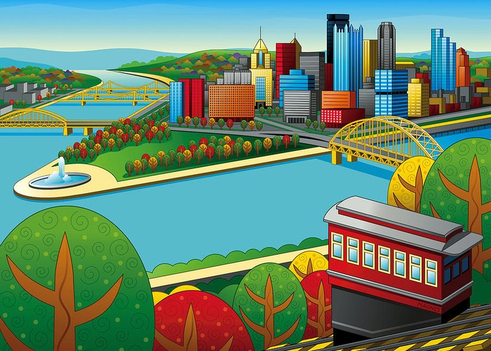 Pittsburgh Greeting Card featuring the digital art Fall From Above Rendered by Ron Magnes