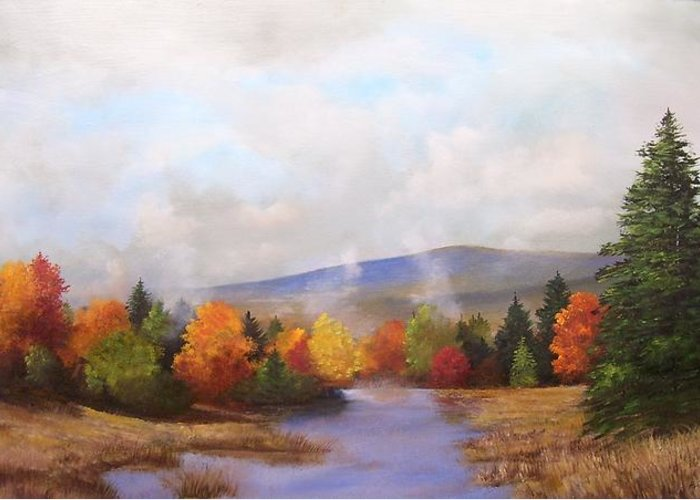 Fall Greeting Card featuring the painting Fall Pond Scene by Ken Ahlering