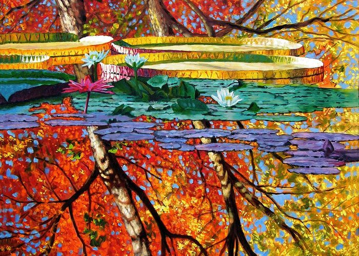 Water Lilies Greeting Card featuring the painting Fall Reflections by John Lautermilch