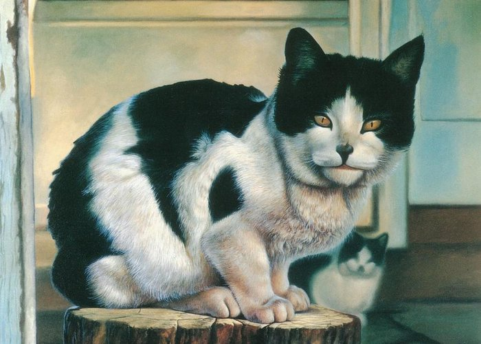 Cat Greeting Card featuring the painting Farm Cat by Hans Droog