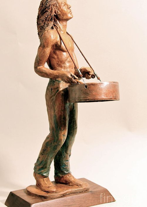 Sculpture Greeting Card featuring the sculpture Feel De Rhythm by Wayne Headley