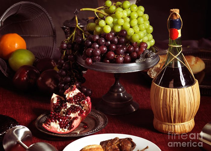 Feast Greeting Card featuring the photograph Festive Dinner Still Life by Oleksiy Maksymenko