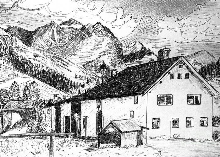 Switzerland Greeting Card featuring the drawing Fextal Switzerland by Monica Engeler