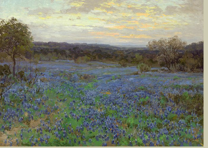 19th Century Art Greeting Card featuring the painting Field Of Bluebonnets At Sunset by Julian Onderdonk