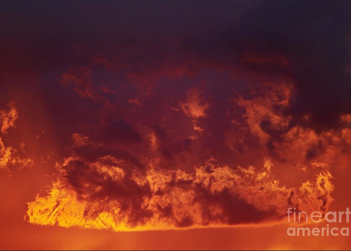Sunset Greeting Card featuring the photograph Fiery Clouds by Michal Boubin