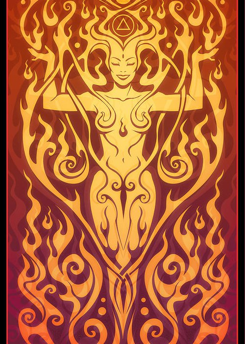 Goddess Greeting Card featuring the digital art Fire Spirit by Cristina McAllister