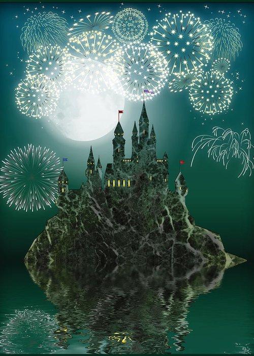 Symbolic Digital Art Greeting Card featuring the digital art Firework by Harald Dastis