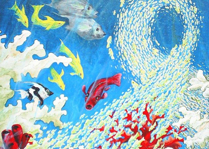 Marine Life Greeting Card featuring the painting Fish Swarm by Dennis Vebert