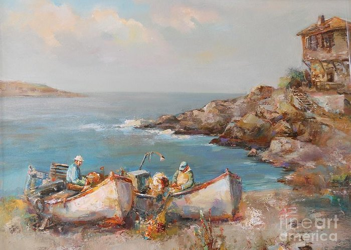 Sea Greeting Card featuring the painting Fishermen With Boats by Angelina Nedin
