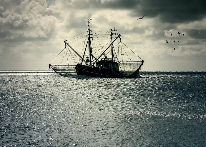 Sea Greeting Card featuring the photograph Fishing Boat by Joana Kruse