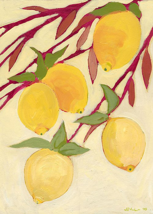 Lemon Greeting Card featuring the painting Five Lemons by Jennifer Lommers