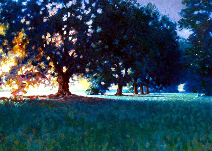 Oak Greeting Card featuring the painting Five Oaks by Kevin Lawrence Leveque