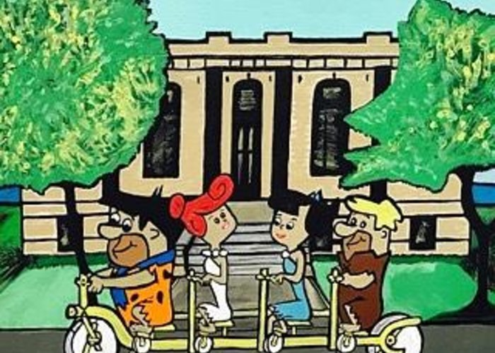 Spies Public Library In Menominee Greeting Card featuring the painting Flintstones Vacation To Menominee by Jonathon Hansen