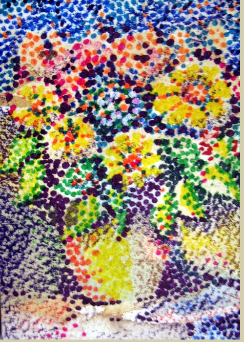 Aceo Greeting Card featuring the painting Flores Amarillos by Bill Meeker