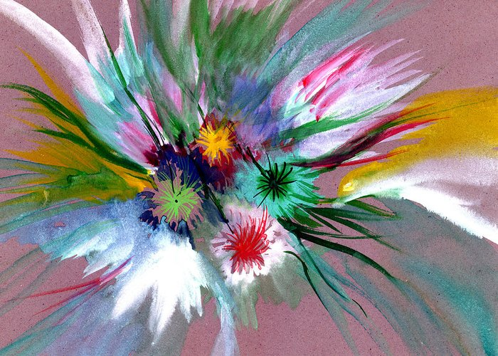 Flowers Greeting Card featuring the painting Flowers by Anil Nene