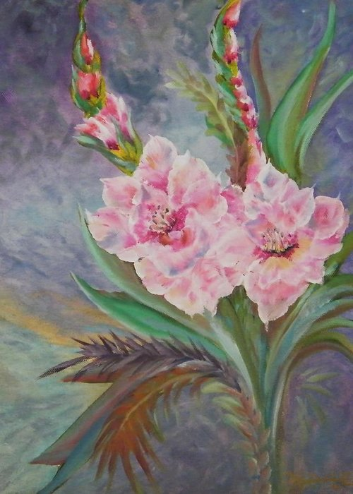 Greeting Card featuring the painting Flowers By Doyle by Larry Doyle