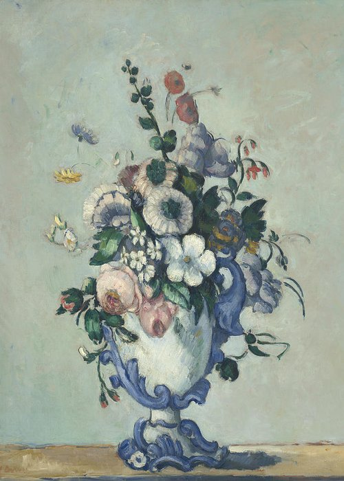 Paul Cezanne Greeting Card featuring the painting Flowers In A Rococo Vase by Paul Cezanne