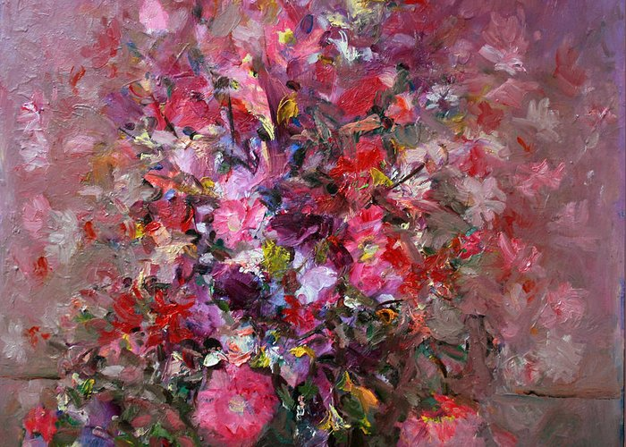 Pink Flowers Greeting Card featuring the painting Flowers by Mario Zampedroni
