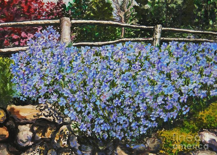 Blue Greeting Card featuring the painting Flowers On The Rock Wall by Emily Michaud