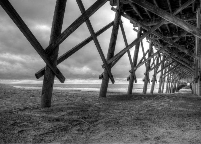Folly Beach Greeting Card featuring the photograph Folly Beach Pier Black And White by Dustin K Ryan