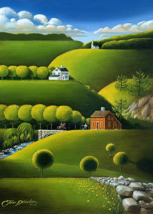 Deecken Greeting Card featuring the painting Foothills Of The Berkshires by John Deecken