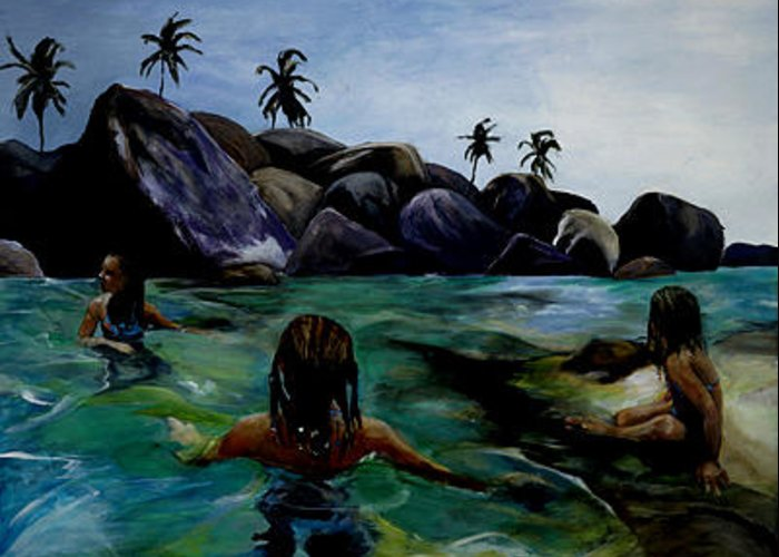 Swimmer Greeting Card featuring the painting Forbidden by Michelle Winnie