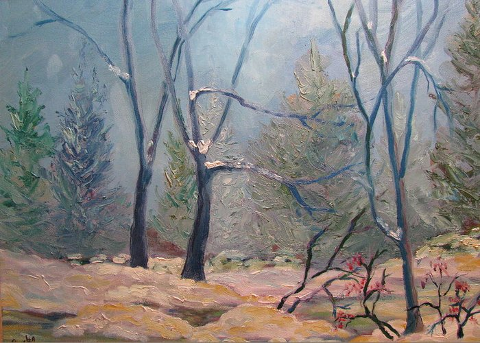 Forest Greeting Card featuring the painting Forest At Twilight by Belinda Consten