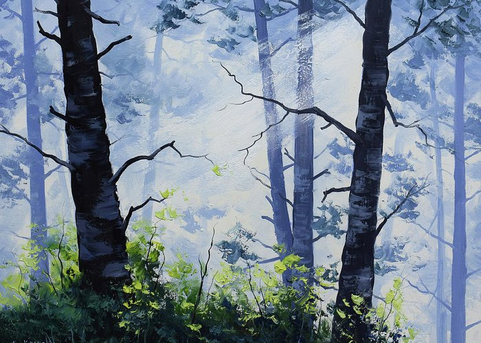 Forest Greeting Card featuring the painting Forest Light by Graham Gercken