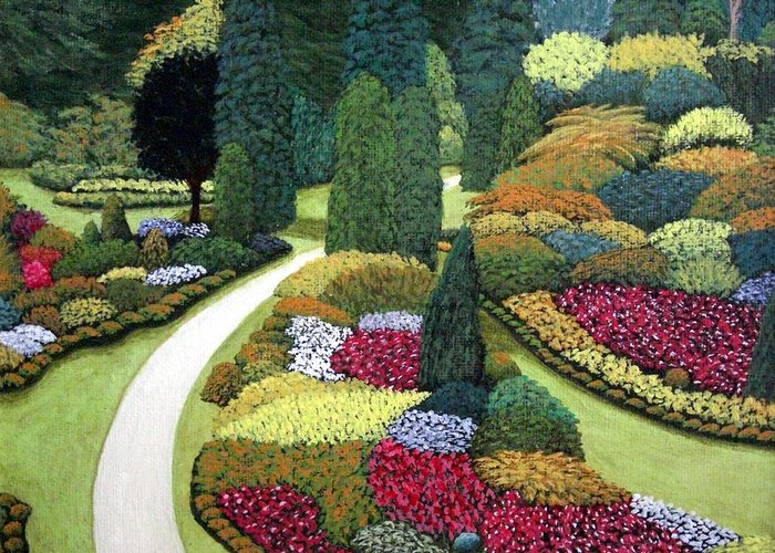 Landscape Greeting Card featuring the painting Formal Gardens by Frederic Kohli